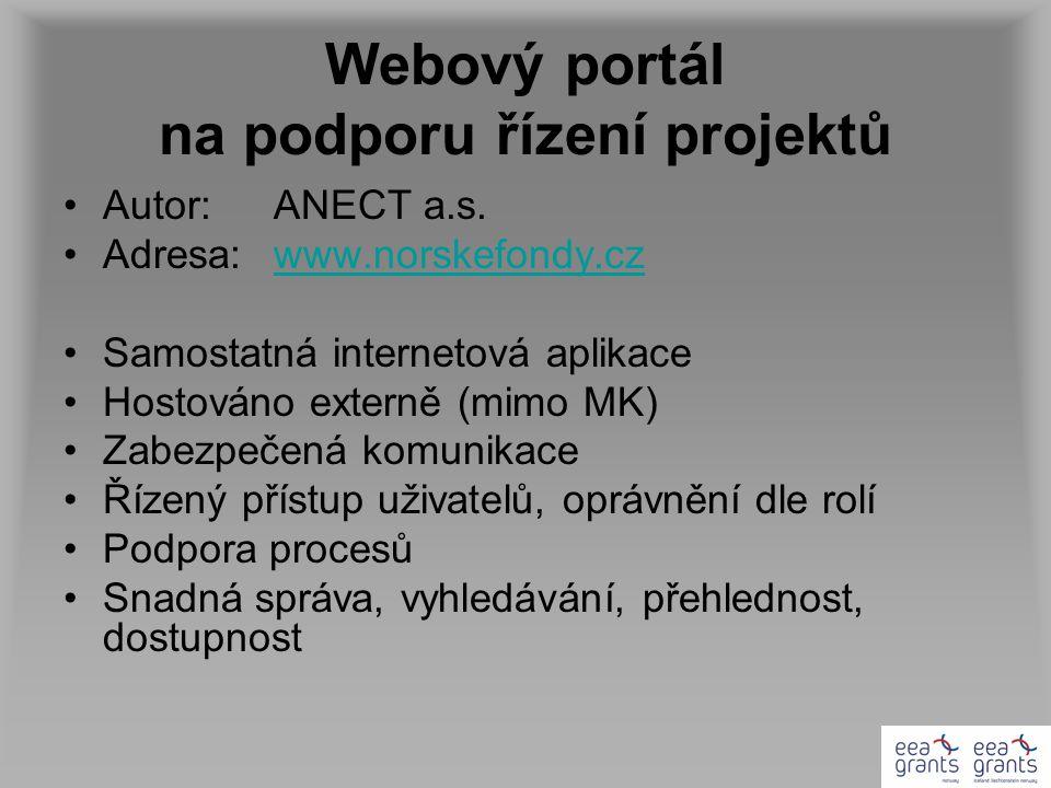 Webový portál na podporu řízení projektů Autor: ANECT a.s.
