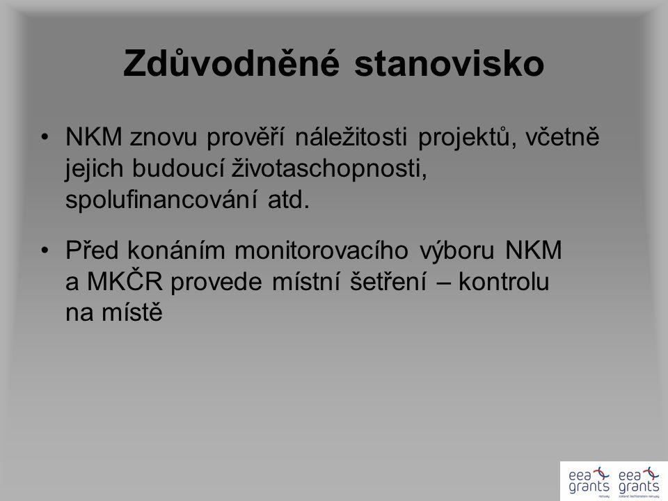 Zdůvodněné stanovisko NKM znovu prověří náležitosti projektů, včetně jejich budoucí životaschopnosti, spolufinancování atd. Před konáním monitorovacíh