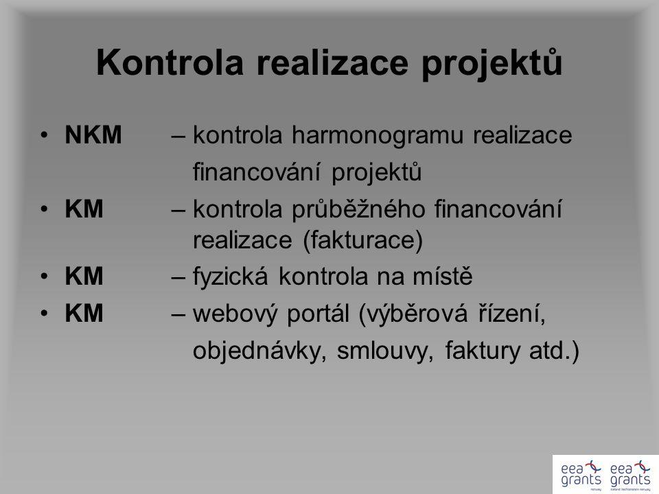 Kontrola realizace projektů NKM– kontrola harmonogramu realizace financování projektů KM– kontrola průběžného financování realizace (fakturace) KM– fyzická kontrola na místě KM– webový portál (výběrová řízení, objednávky, smlouvy, faktury atd.)