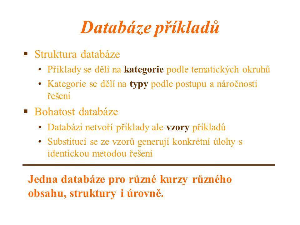 Databáze příkladů  Struktura databáze Příklady se dělí na kategorie podle tematických okruhů Kategorie se dělí na typy podle postupu a náročnosti řeš