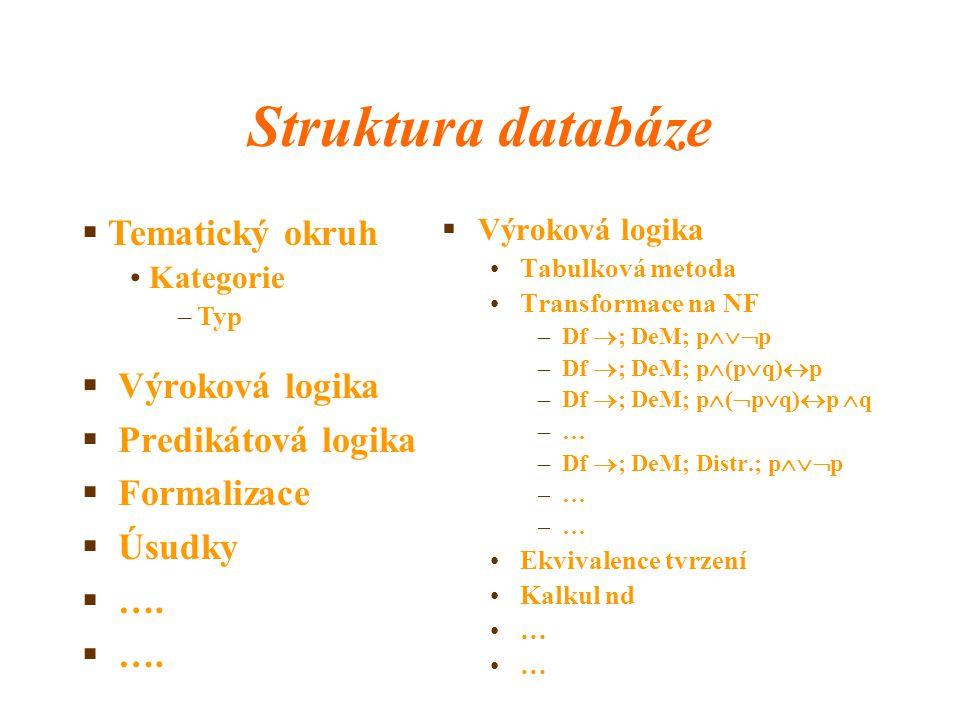Struktura databáze  Výroková logika  Predikátová logika  Formalizace  Úsudky  ….  Výroková logika Tabulková metoda Transformace na NF –Df  ; De