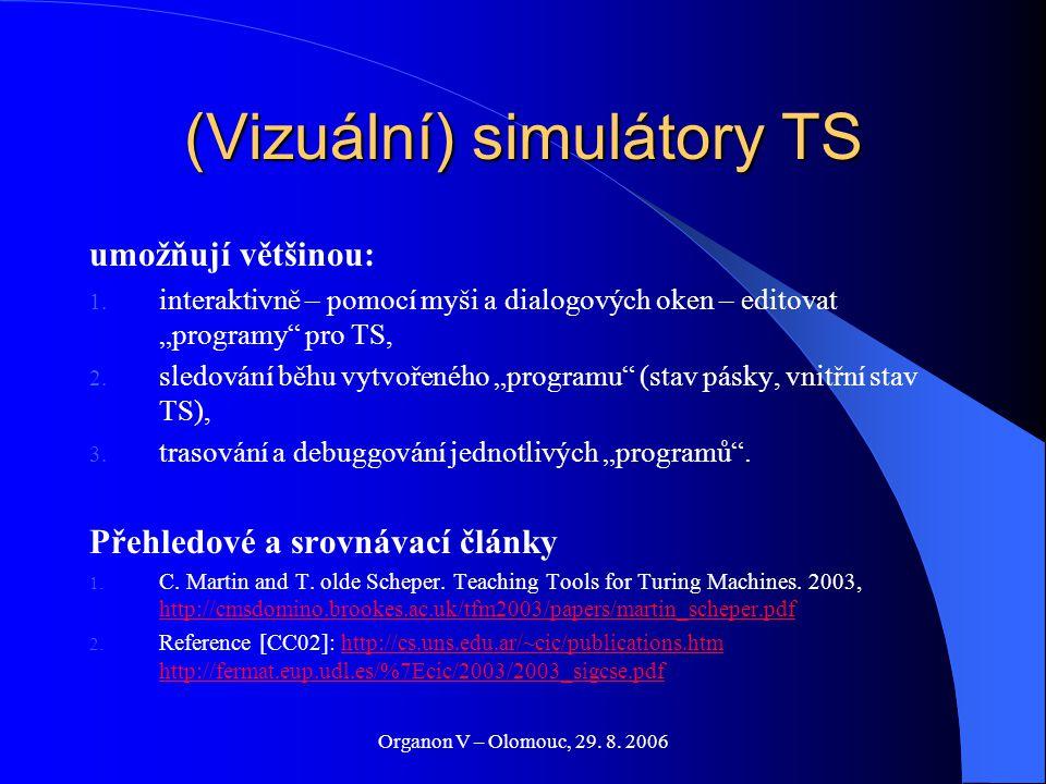 """Organon V – Olomouc, 29. 8. 2006 (Vizuální) simulátory TS umožňují většinou: 1. interaktivně – pomocí myši a dialogových oken – editovat """"programy"""" pr"""
