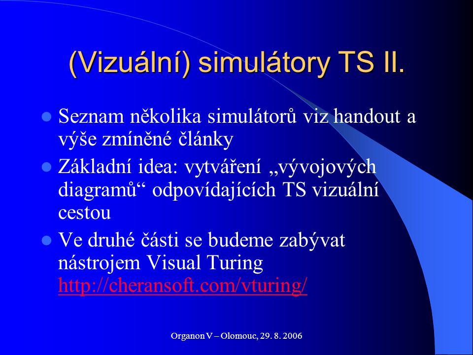 """Organon V – Olomouc, 29. 8. 2006 (Vizuální) simulátory TS II. Seznam několika simulátorů viz handout a výše zmíněné články Základní idea: vytváření """"v"""