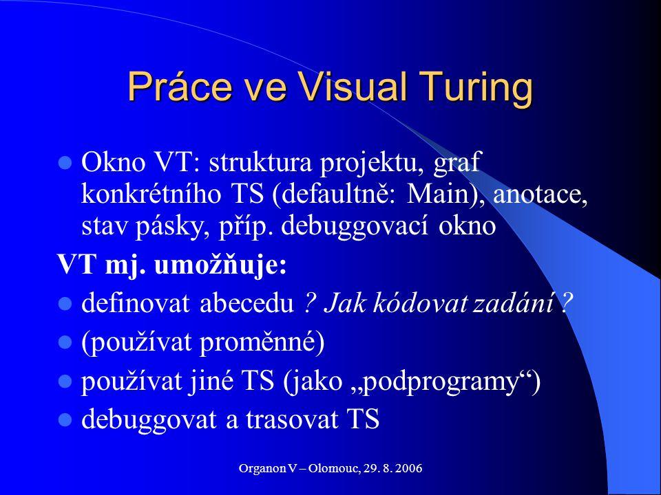 Organon V – Olomouc, 29. 8. 2006 Práce ve Visual Turing Okno VT: struktura projektu, graf konkrétního TS (defaultně: Main), anotace, stav pásky, příp.