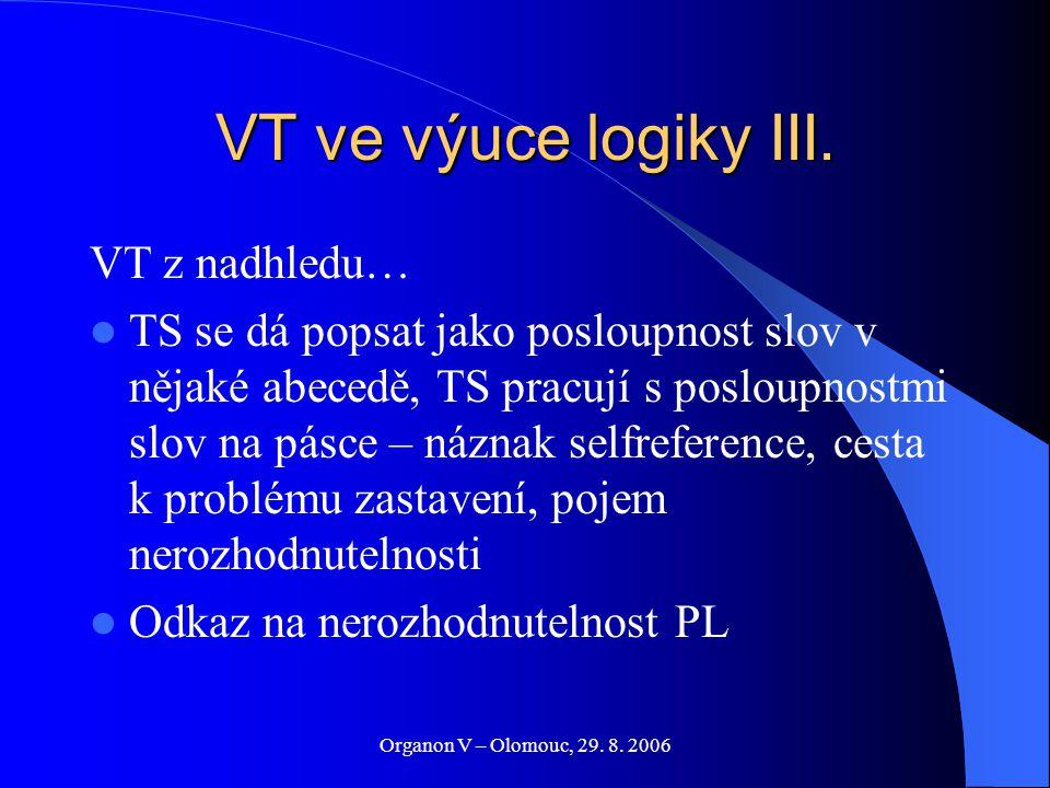 Organon V – Olomouc, 29. 8. 2006 VT ve výuce logiky III. VT z nadhledu… TS se dá popsat jako posloupnost slov v nějaké abecedě, TS pracují s posloupno