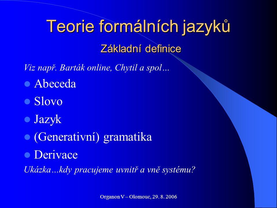 Organon V – Olomouc, 29. 8. 2006 Teorie formálních jazyků Základní definice Viz např. Barták online, Chytil a spol… Abeceda Slovo Jazyk (Generativní)