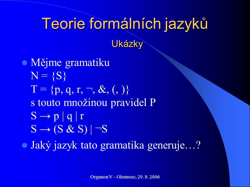Organon V – Olomouc, 29. 8. 2006 Teorie formálních jazyků Ukázky Mějme gramatiku N = {S} T = {p, q, r, ¬, &, (, )} s touto množinou pravidel P S → p |