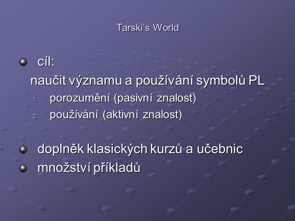 Tarski's World cíl: naučit významu a používání symbolů PL 1. porozumění (pasivní znalost) 2. používání (aktivní znalost) doplněk klasických kurzů a uč