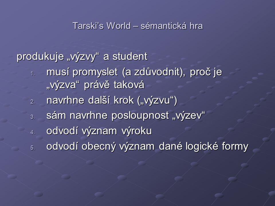 """Tarski's World – sémantická hra produkuje """"výzvy"""" a student 1. musí promyslet (a zdůvodnit), proč je """"výzva"""" právě taková 2. navrhne další krok (""""výzv"""