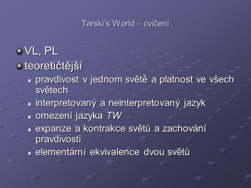Tarski's World – cvičení VL, PL teoretičtější pravdivost v jednom světě a platnost ve všech světech pravdivost v jednom světě a platnost ve všech svět