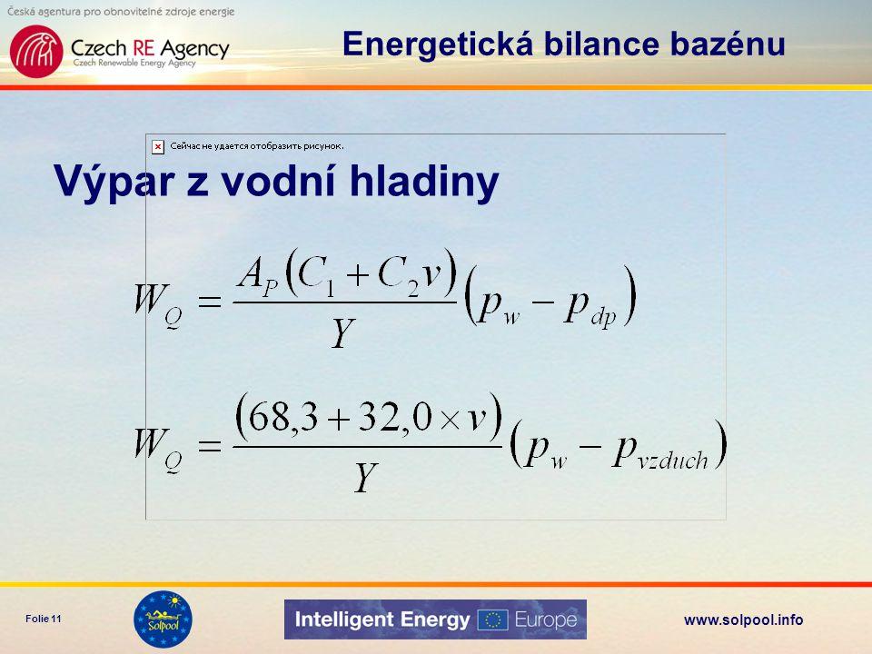www.solpool.info Folie 12 Radiace do (noční) oblohy pro menší rozdíly teplot lineární aproximace Energetická bilance bazénu