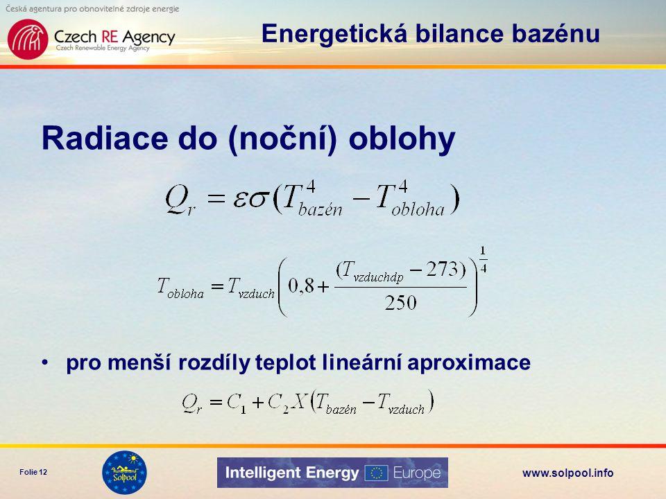 www.solpool.info Folie 13 Konvekce do (chladnějšího) vzduchu Energetická bilance bazénu