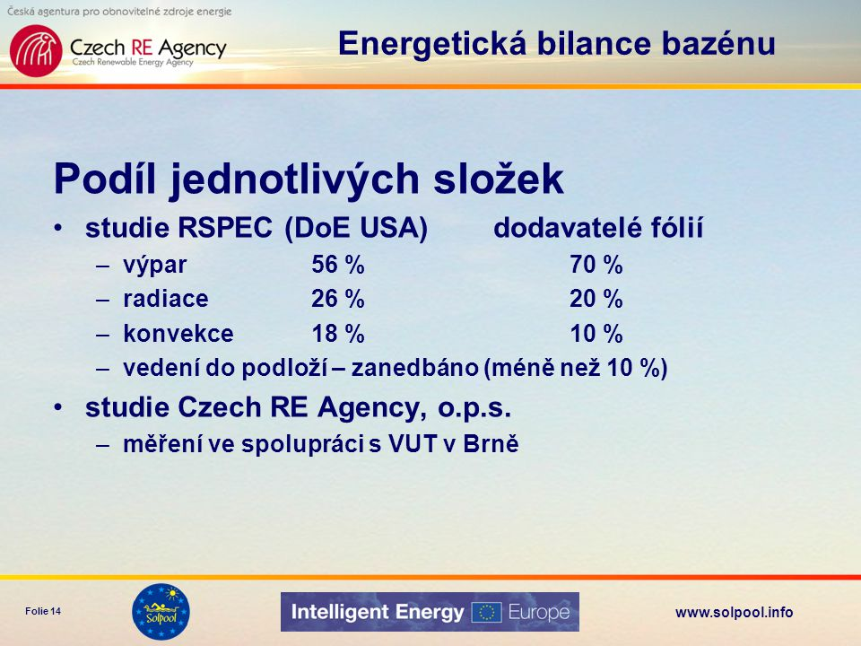 www.solpool.info Folie 14 Podíl jednotlivých složek studie RSPEC (DoE USA) dodavatelé fólií –výpar 56 %70 % –radiace26 %20 % –konvekce 18 %10 % –veden