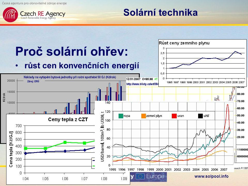 www.solpool.info Folie 17 Solární technika Proč solární ohřev: časově se kryje –provozní sezóna –období dostatku slunečního záření relativně malé ohřátí vody