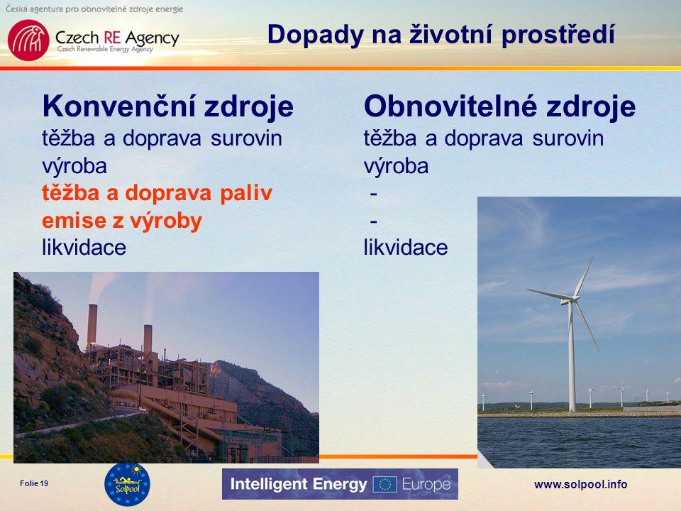 www.solpool.info Folie 19 Konvenční zdroje těžba a doprava surovin výroba těžba a doprava paliv emise z výroby likvidace Dopady na životní prostředí O