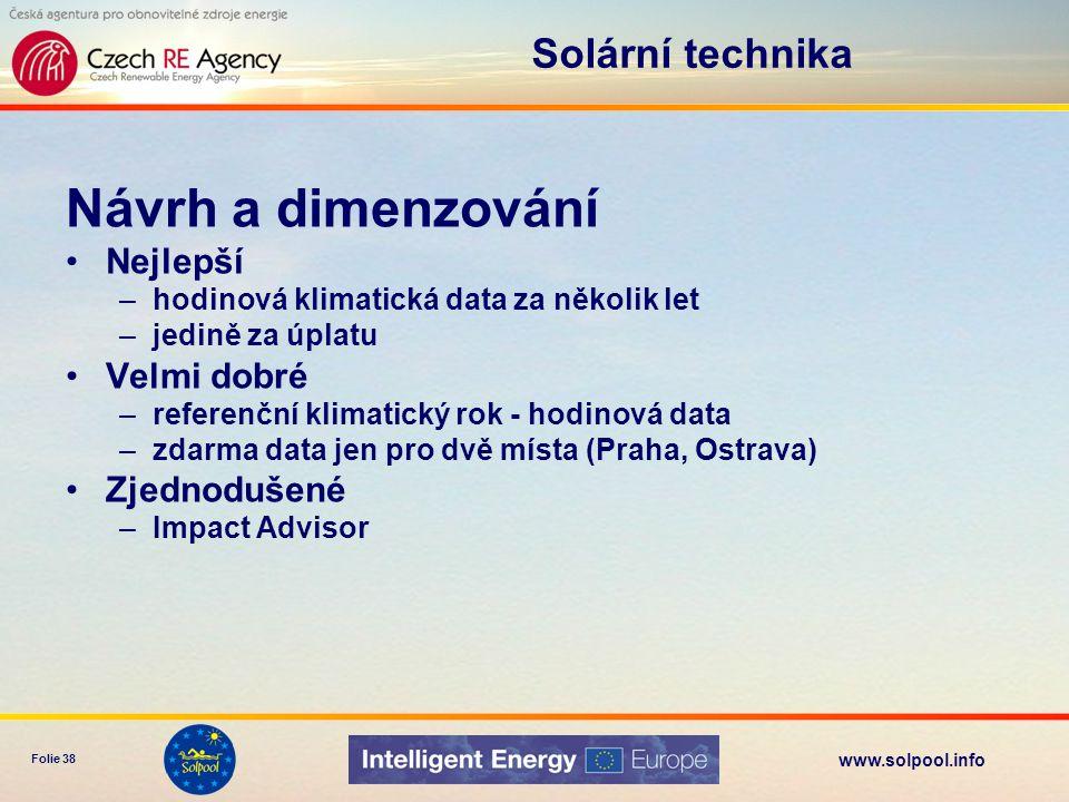 www.solpool.info Folie 38 Solární technika Návrh a dimenzování Nejlepší –hodinová klimatická data za několik let –jedině za úplatu Velmi dobré –refere