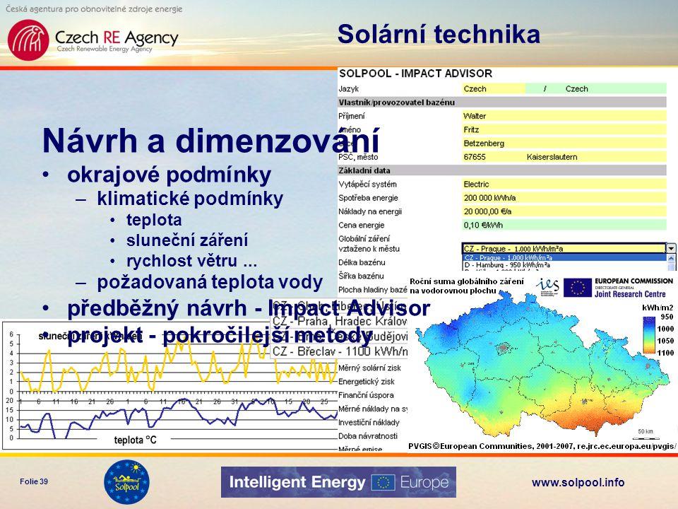 www.solpool.info Folie 39 Solární technika Návrh a dimenzování okrajové podmínky –klimatické podmínky teplota sluneční záření rychlost větru... –požad