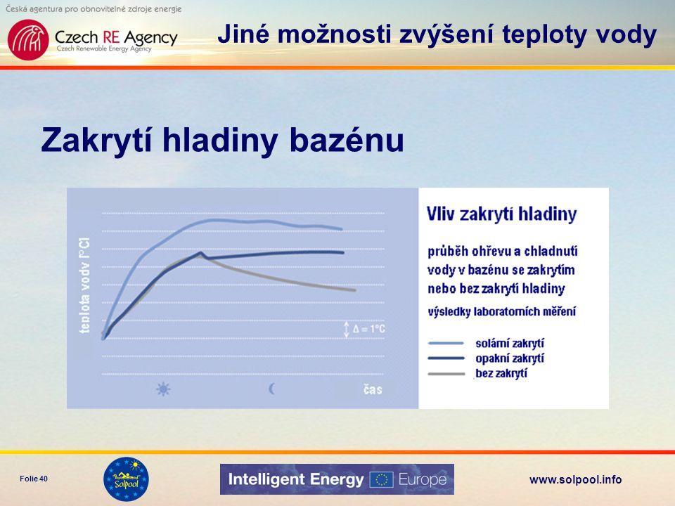 www.solpool.info Folie 41 Rusava bazén 15x43m, 1000 m 3 kolektorové pole –plocha 540 m 2 –zasklené kolektory tepelné čerpadlo –doplňkový zdroj náklady 8 mil.