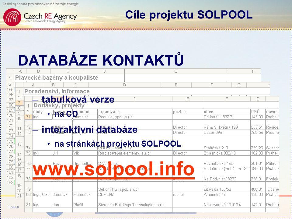 www.solpool.info Folie 8 DATABÁZE KONTAKTŮ –tabulková verze na CD –interaktivní databáze na stránkách projektu SOLPOOL www.solpool.info Cíle projektu