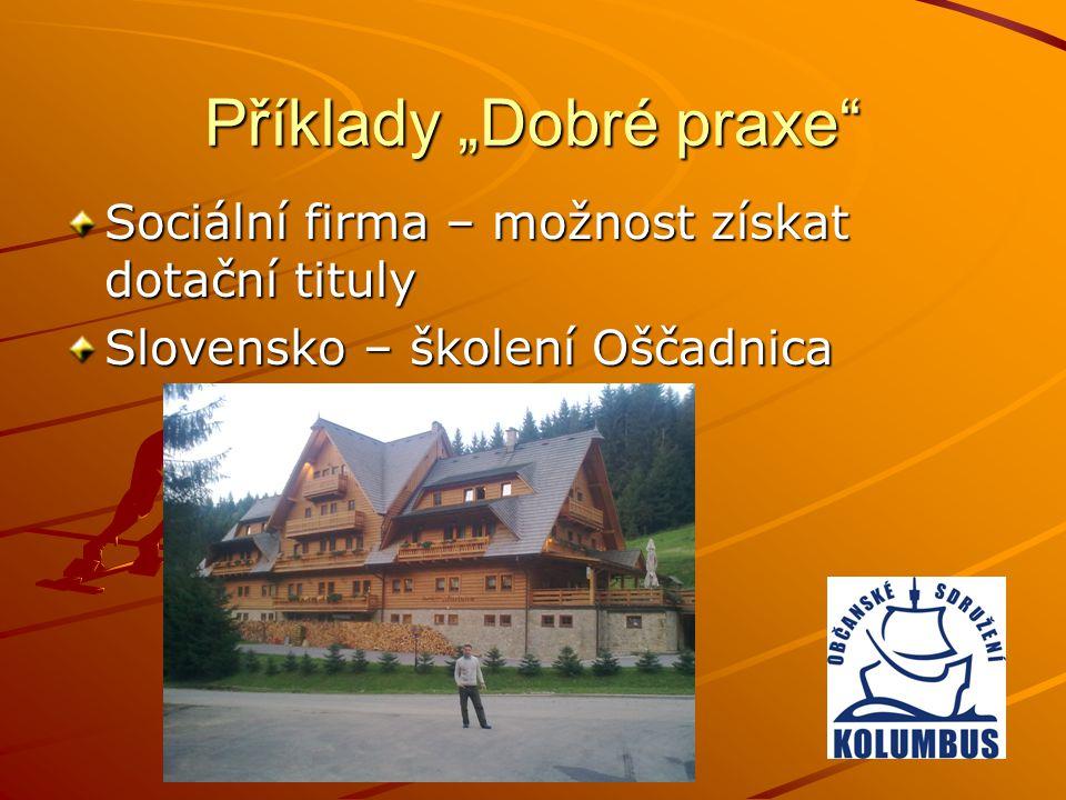 """Příklady """"Dobré praxe"""" Sociální firma – možnost získat dotační tituly Slovensko – školení Oščadnica"""
