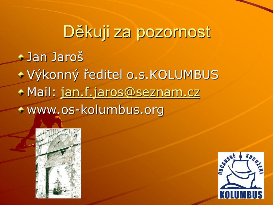 Děkuji za pozornost Jan Jaroš Výkonný ředitel o.s.KOLUMBUS Mail: jan.f.jaros@seznam.cz jan.f.jaros@seznam.cz www.os-kolumbus.org