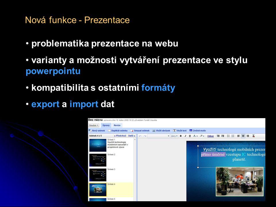 Nová funkce - Prezentace problematika prezentace na webu varianty a možnosti vytváření prezentace ve stylu powerpointu kompatibilita s ostatními formáty export a import dat