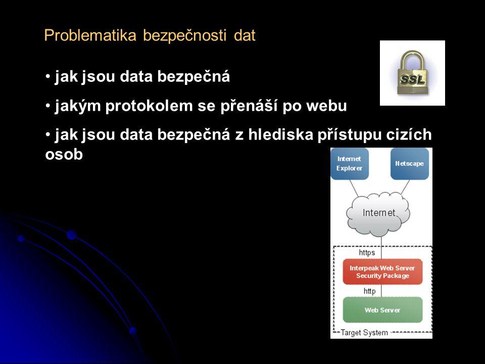 Problematika bezpečnosti dat jak jsou data bezpečná jakým protokolem se přenáší po webu jak jsou data bezpečná z hlediska přístupu cizích osob