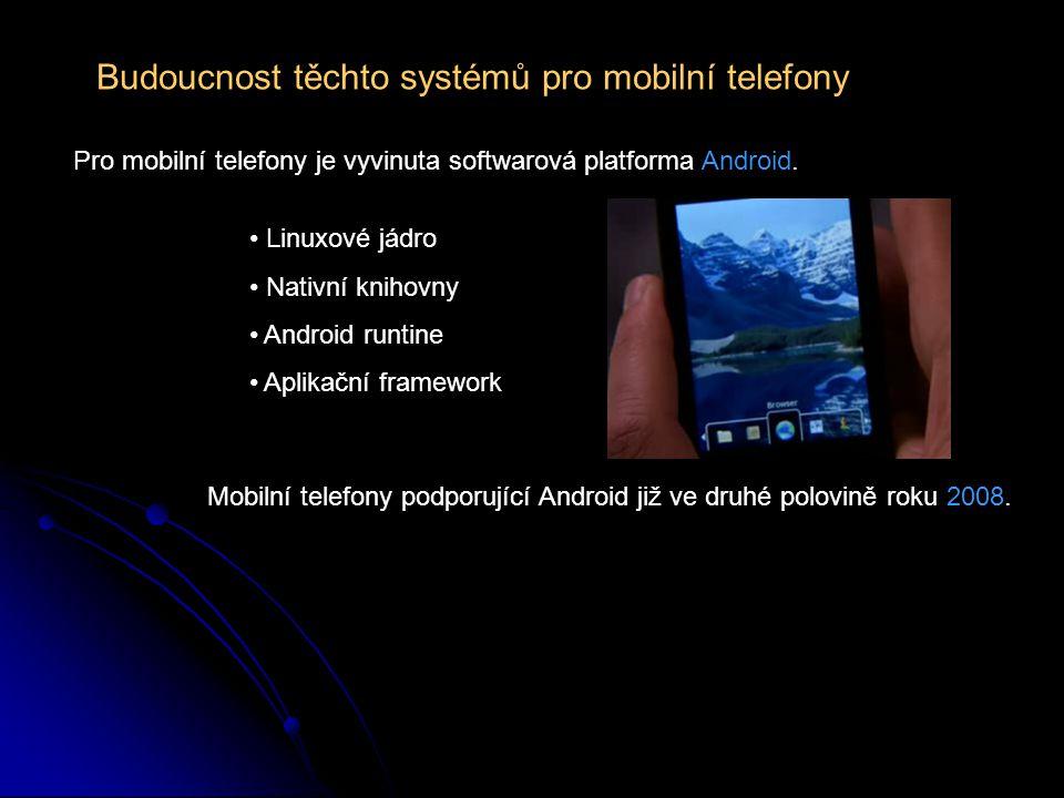Budoucnost těchto systémů pro mobilní telefony Pro mobilní telefony je vyvinuta softwarová platforma Android. Mobilní telefony podporující Android již