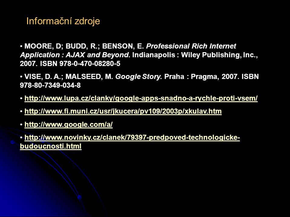 Informační zdroje MOORE, D; BUDD, R.; BENSON, E.