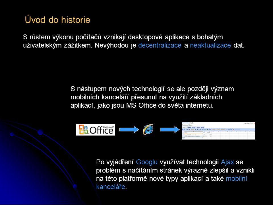 Úvod do historie S růstem výkonu počítačů vznikají desktopové aplikace s bohatým uživatelským zážitkem. Nevýhodou je decentralizace a neaktualizace da