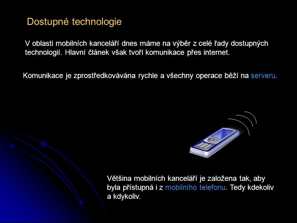 Dostupné technologie V oblasti mobilních kanceláří dnes máme na výběr z celé řady dostupných technologií.