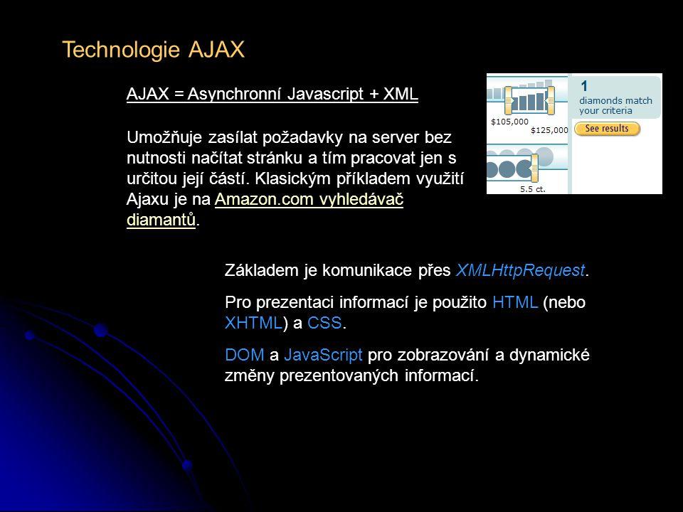 Technologie AJAX – výhody a nevýhody Rychlejší komunikace mezi serverem a klientem šetří datové přenosy znemožňuje použití tlačítka Zpět v prohlížeči nemění URL v adresním řádku prohlížeče není možné, aby server sám kontaktoval uživatele, když je potřeba