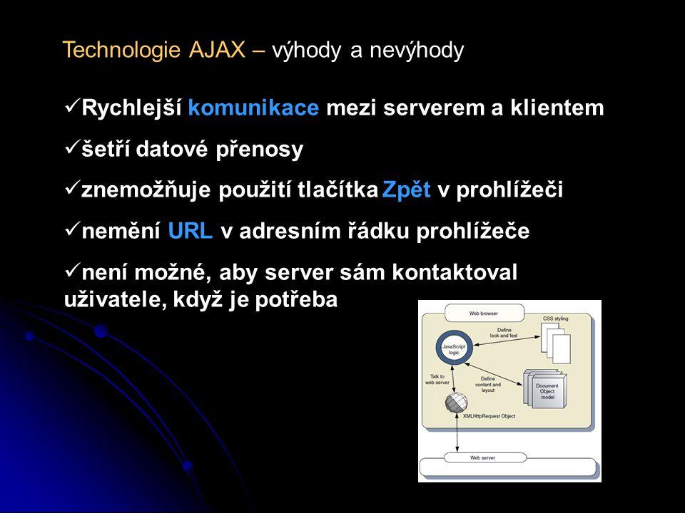 Technologie AJAX – výhody a nevýhody Rychlejší komunikace mezi serverem a klientem šetří datové přenosy znemožňuje použití tlačítka Zpět v prohlížeči