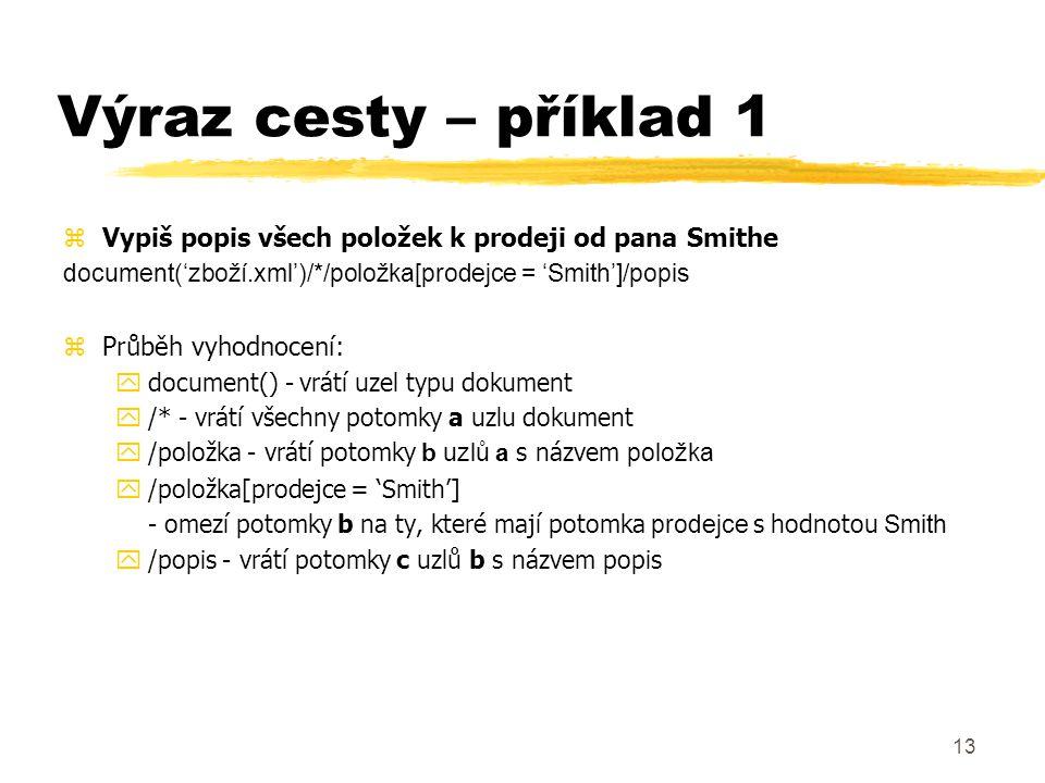 14 Výraz cesty – příklad 2 zVypiš všechny elementy popis v dokumentu document('zboží.xml')//popis zNajdi atribut status položky, která je rodič daného popisu $popis/../@status