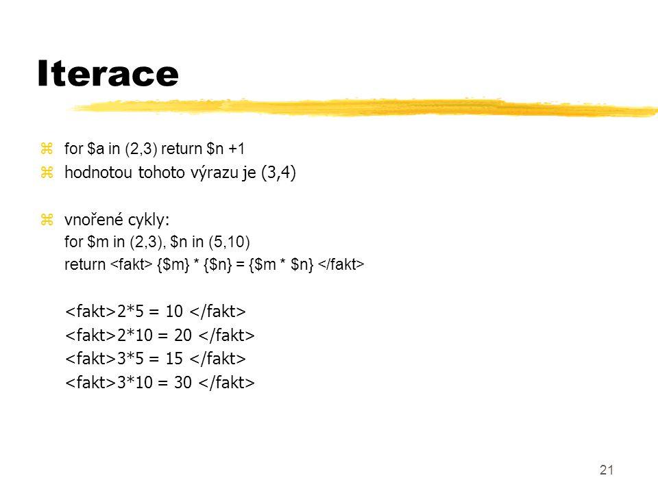22 FLWR (flower) zfor - iterace prvků podle sekvence zlet - přiřazení hodnot pomocných proměnných, volitelná zwhere - filtrace výsledné sekvence, volitelná zreturn - konstrukce výsledku for $i in (1, 5) let $sq= $i * $I where $i < 4 return $sq 1 4 9