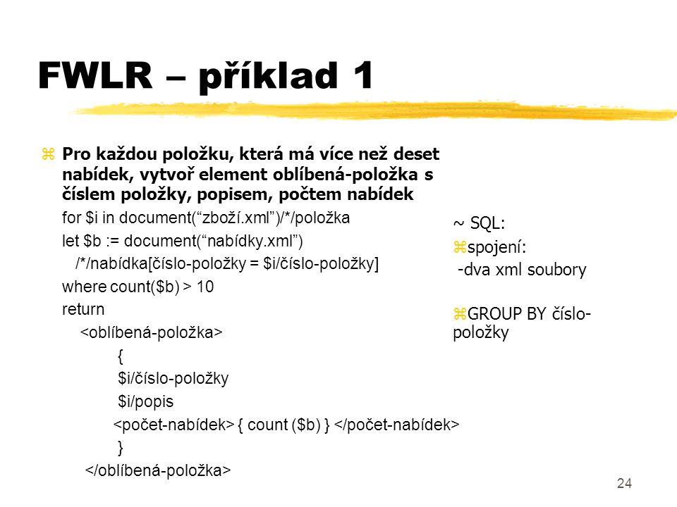 25 FWLR – příklad 2 zVytvoř zprávu obsahující stav nabídek pro různé položky.