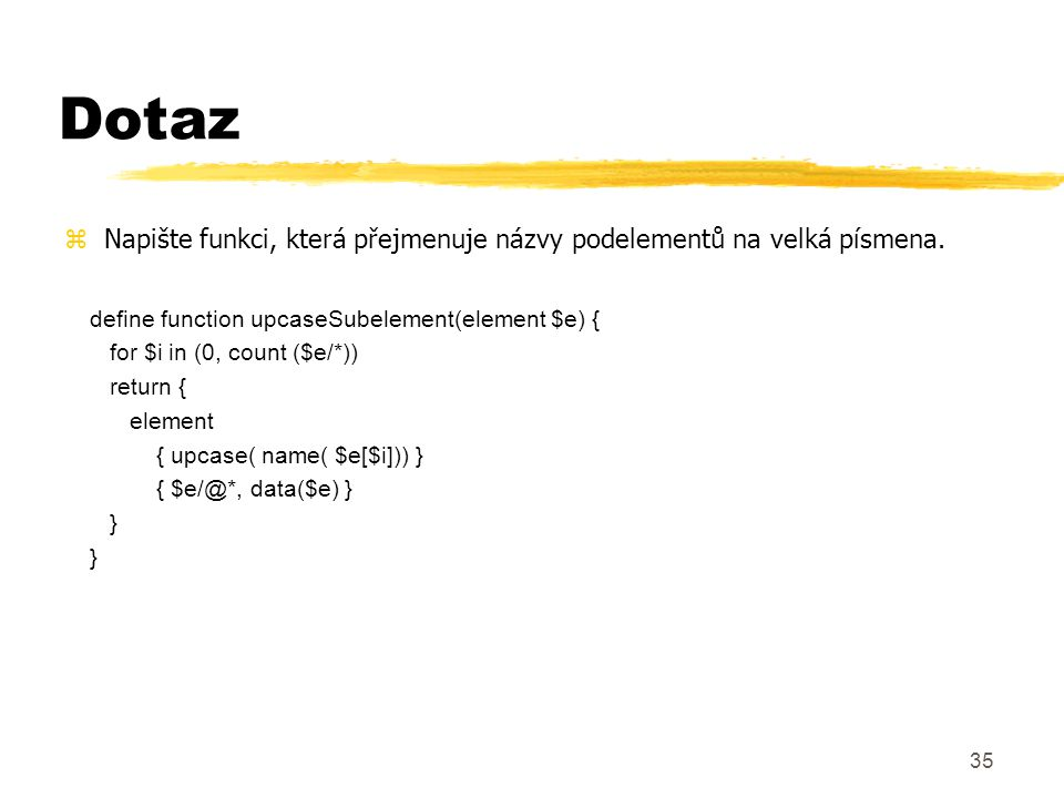 36 Dodatek 1.Relační databáze a XML ymodel uložení XML v relační DB 2.Path join algoritmus yschéma číslování ypopis algoritmu (eXist) 3.Fulltext na XML yXIRQL – XML Information Retrieval Query Language yváhy, relevance, typy 4.RDF Reasoning