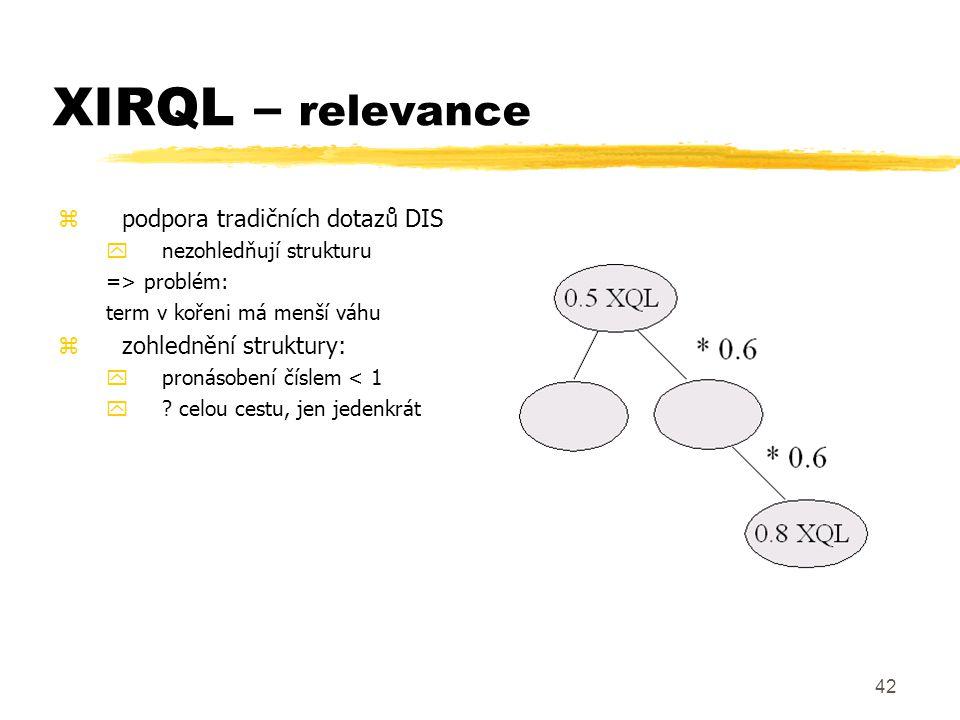 43 XIRQL – typy zoperátory na základě datových typů ynapř.