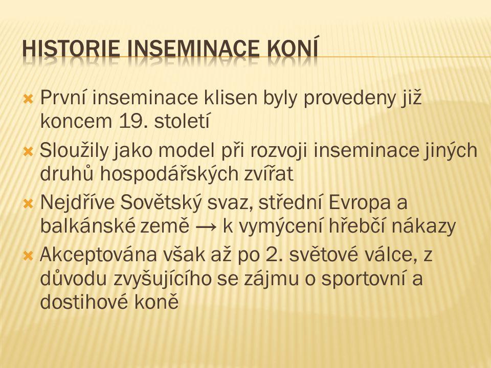  První inseminace klisen byly provedeny již koncem 19. století  Sloužily jako model při rozvoji inseminace jiných druhů hospodářských zvířat  Nejdř
