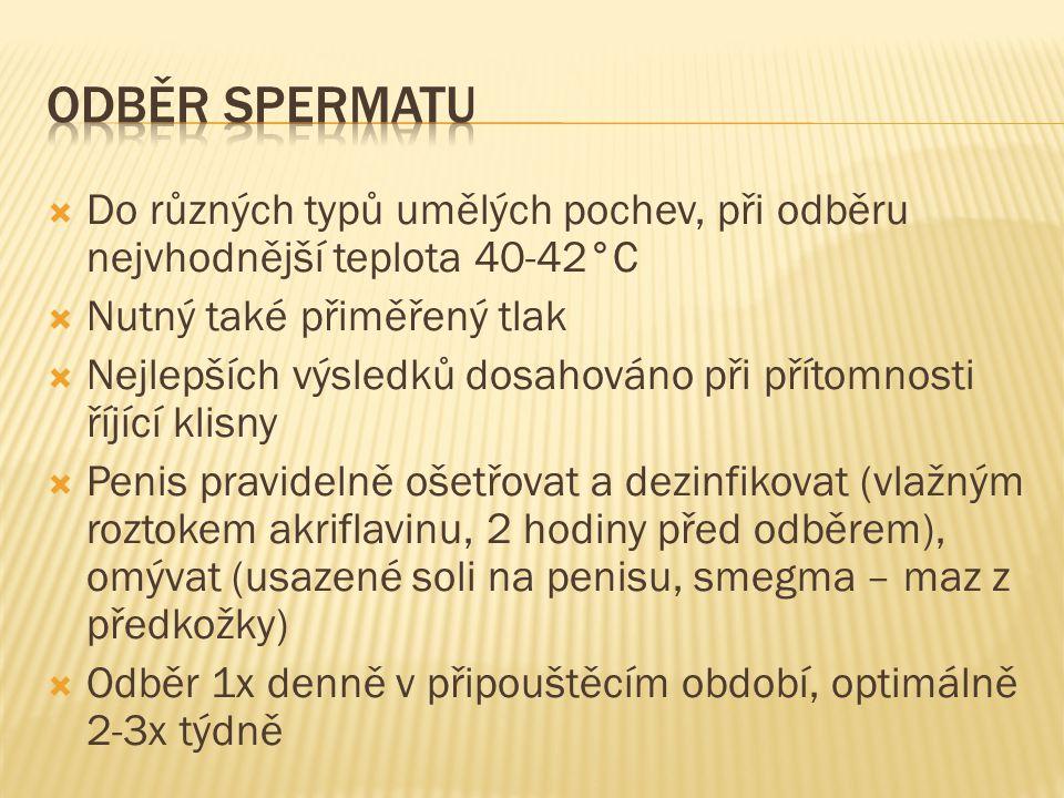  Do různých typů umělých pochev, při odběru nejvhodnější teplota 40-42°C  Nutný také přiměřený tlak  Nejlepších výsledků dosahováno při přítomnosti