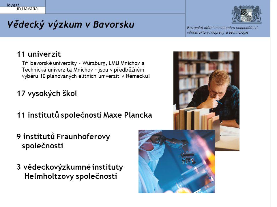 Invest in Bavaria Bavorské státní ministerstvo hospodářství, infrastruktury, dopravy a technologie Vědecký výzkum v Bavorsku 11 univerzit Tři bavorské univerzity - Würzburg, LMU Mnichov a Technická univerzita Mnichov – jsou v předběžném výběru 10 plánovaných elitních univerzit v Německu.