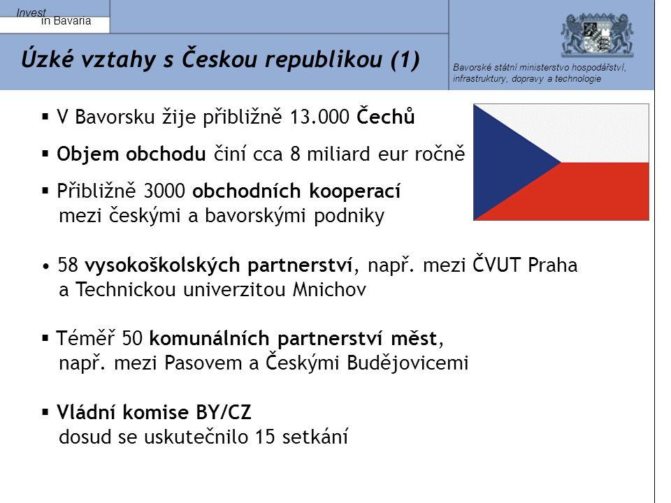 Invest in Bavaria Bavorské státní ministerstvo hospodářství, infrastruktury, dopravy a technologie Úzké vztahy s Českou republikou (1)  V Bavorsku žije přibližně 13.000 Čechů  Objem obchodu činí cca 8 miliard eur ročně  Přibližně 3000 obchodních kooperací mezi českými a bavorskými podniky 58 vysokoškolských partnerství, např.