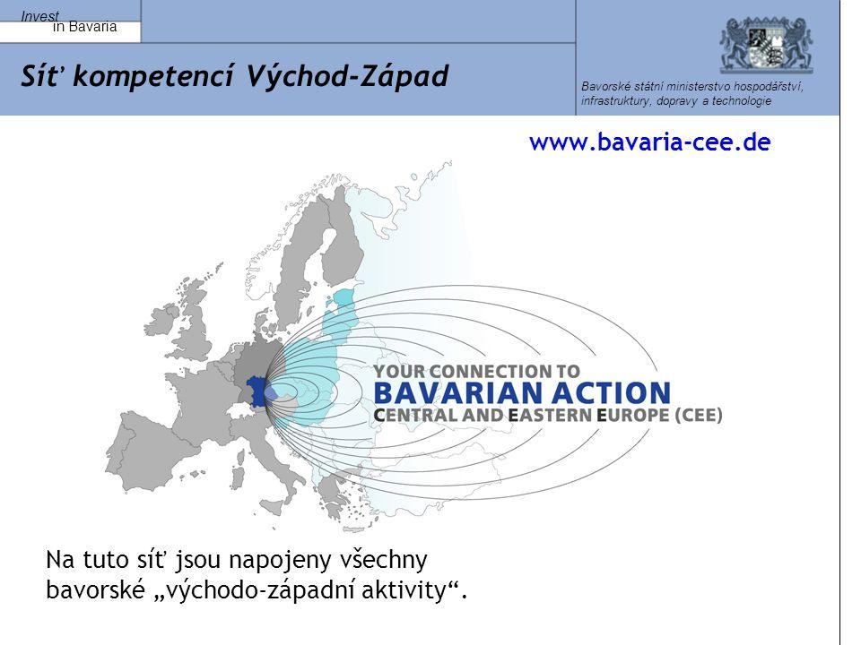 """Invest in Bavaria Bavorské státní ministerstvo hospodářství, infrastruktury, dopravy a technologie Síť kompetencí Východ-Západ www.bavaria-cee.de Na tuto síť jsou napojeny všechny bavorské """"východo-západní aktivity ."""