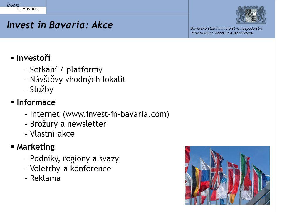 Invest in Bavaria Bavorské státní ministerstvo hospodářství, infrastruktury, dopravy a technologie Invest in Bavaria: Akce  Investoři – Setkání / platformy – Návštěvy vhodných lokalit – Služby  Informace – Internet (www.invest-in-bavaria.com) – Brožury a newsletter – Vlastní akce  Marketing – Podniky, regiony a svazy – Veletrhy a konference – Reklama