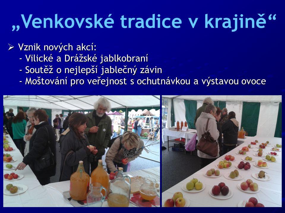 """ Vznik nových akcí: - Vilické a Drážské jablkobraní - Vilické a Drážské jablkobraní - Soutěž o nejlepší jablečný závin - Soutěž o nejlepší jablečný závin - Moštování pro veřejnost s ochutnávkou a výstavou ovoce - Moštování pro veřejnost s ochutnávkou a výstavou ovoce """"Venkovské tradice v krajině"""