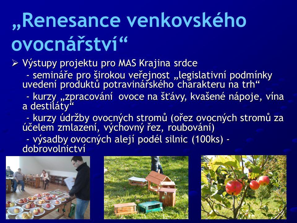""" Výstupy projektu pro MAS Krajina srdce - semináře pro širokou veřejnost """"legislativní podmínky uvedení produktů potravinářského charakteru na trh - semináře pro širokou veřejnost """"legislativní podmínky uvedení produktů potravinářského charakteru na trh - kurzy """"zpracování ovoce na šťávy, kvašené nápoje, vína a destiláty - kurzy """"zpracování ovoce na šťávy, kvašené nápoje, vína a destiláty - kurzy údržby ovocných stromů (ořez ovocných stromů za účelem zmlazení, výchovný řez, roubování) - kurzy údržby ovocných stromů (ořez ovocných stromů za účelem zmlazení, výchovný řez, roubování) - výsadby ovocných alejí podél silnic (100ks) - dobrovolnictví - výsadby ovocných alejí podél silnic (100ks) - dobrovolnictví """"Renesance venkovského ovocnářství"""