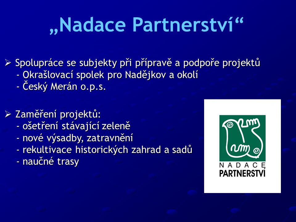  Spolupráce se subjekty při přípravě a podpoře projektů - Okrašlovací spolek pro Nadějkov a okolí - Okrašlovací spolek pro Nadějkov a okolí - Český M