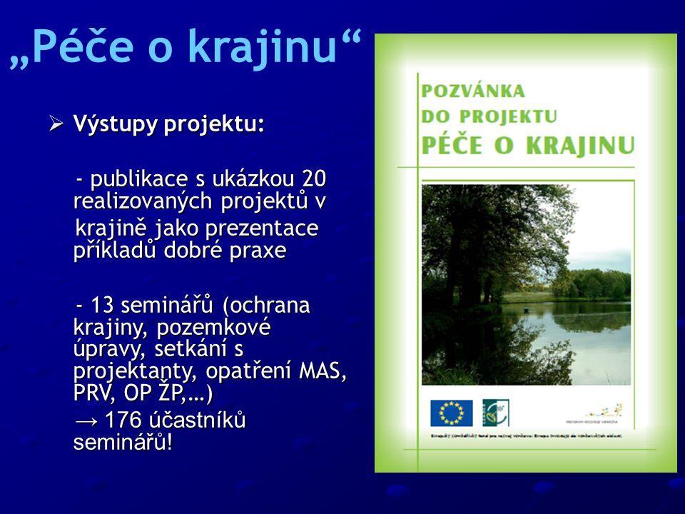  Výstupy projektu: - publikace s ukázkou 20 realizovaných projektů v - publikace s ukázkou 20 realizovaných projektů v krajině jako prezentace příkla