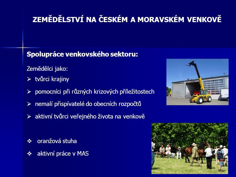 ZEMĚDĚLSTVÍ NA ČESKÉM A MORAVSKÉM VENKOVĚ Spolupráce venkovského sektoru: Zemědělci jako:  tvůrci krajiny  pomocníci při různých krizových příležito