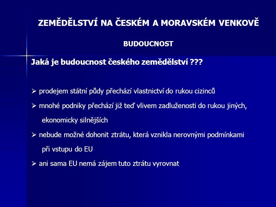 ZEMĚDĚLSTVÍ NA ČESKÉM A MORAVSKÉM VENKOVĚ BUDOUCNOST Jaká je budoucnost českého zemědělství ???  prodejem státní půdy přechází vlastnictví do rukou c
